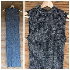 Black White Maxi Dress | Bodycon Stretch High Neck